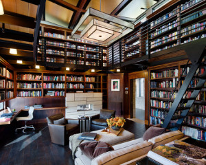 extraordinary-contemporary-home-office-furniture-also-large-library-with-bookshelves-and-eames-aluminum-management-chair-as-well-as-black-steel-staircase-plus-computer-table